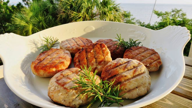 A platter of freshly grilled tuna burgers.