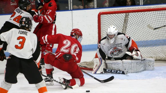 North Rockland defeated Mamaroneck 2-0 in a Section 1 playoff game at Hommocks Park Ice Rink in Mamaroneck Feb. 23, 2018.