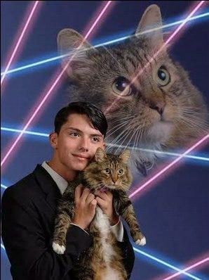 Draven Rodriguez and cat Mr. Bigglesworth.