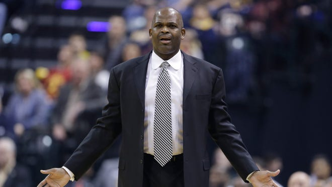 Indiana Pacers coach Nate McMillan reacts to a call during the first half of an NBA basketball game against the Boston Celtics in Indianapolis, Thursday, Dec. 22, 2016.