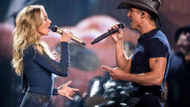 Faith Hill and Tim McGraw perform at Bridgestone Arena in Nashville, Tenn., Friday, Aug. 4, 2017.