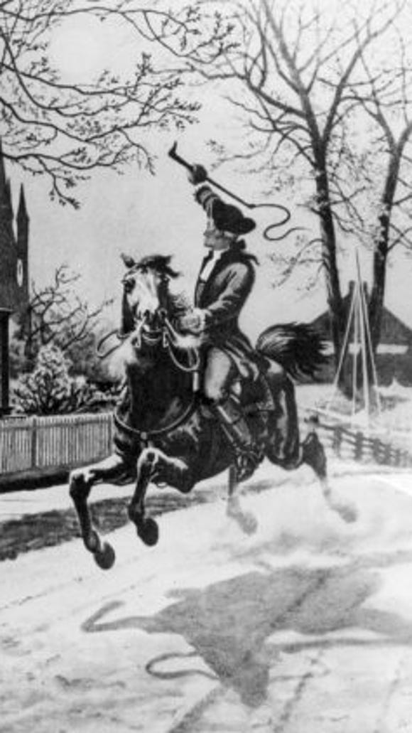 Depiction of Paul Revere's ride through the Massachusetts countryside to warn the residents that the British were coming.