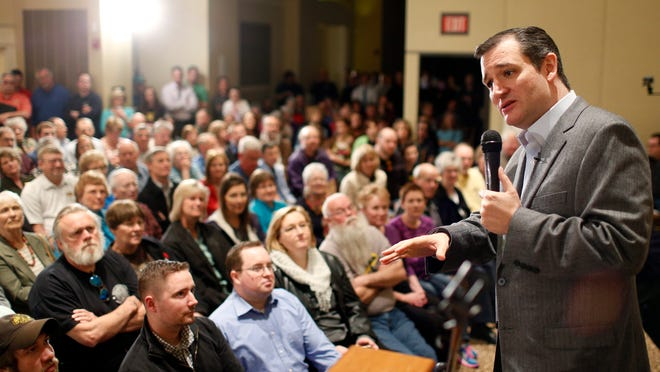 Republican Presidential candidate Sen. Ted Cruz, R-Texas, speaks at a campaign event at Park Place Event Centre, Thursday in Cedar Falls.