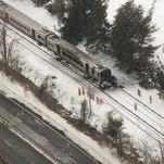 An aerial photo released by the NTSB of the wreckage the day after the Feb. 3 train crash in Valhalla.