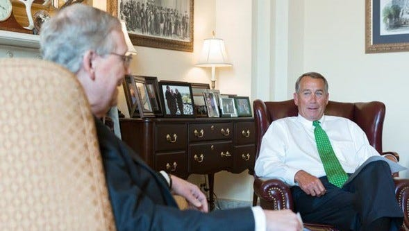 Senate Majority Leader Mitch McConnell, R-Ky., and House Speaker John Boehner, R-Ohio.