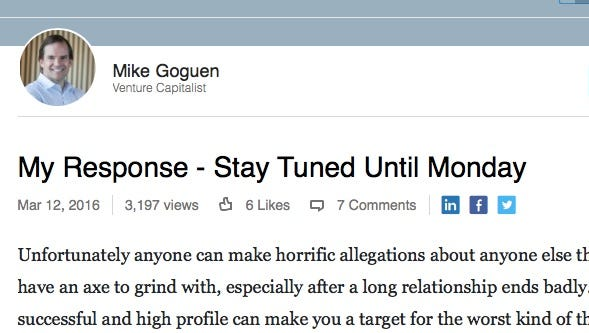 Mike Goguen says a defense is coming on his LinkedIn page