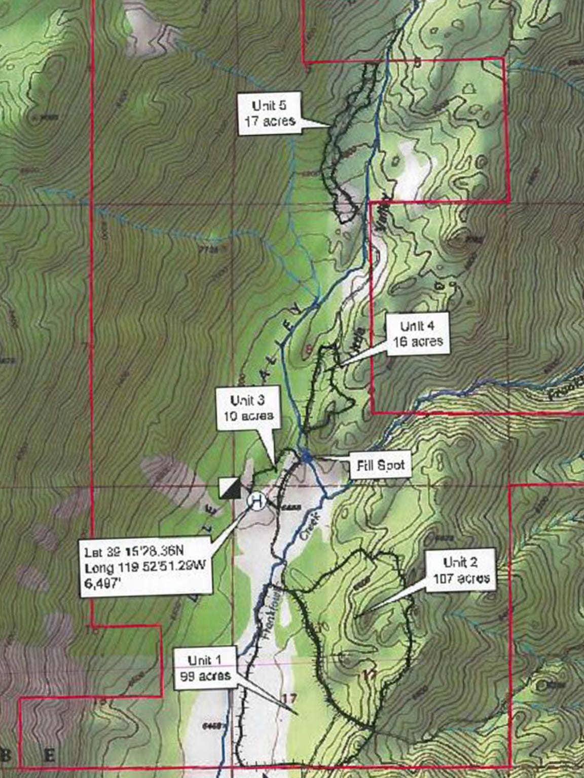 A map of the Little Valley Burn area from its prescription