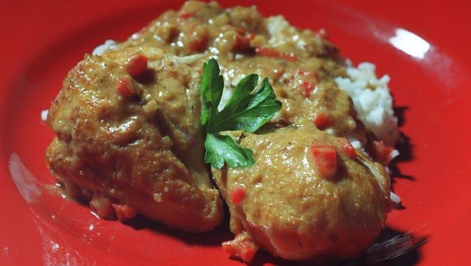 African Style Braised Chicken in peanut sauce.