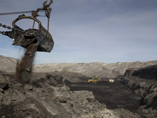 A machine removes waste at the Kayenta Mine. The coal