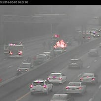 A vehicle caught fire in a multi-vehicle crash on north I-75 at Towne Street Tuesday morning.