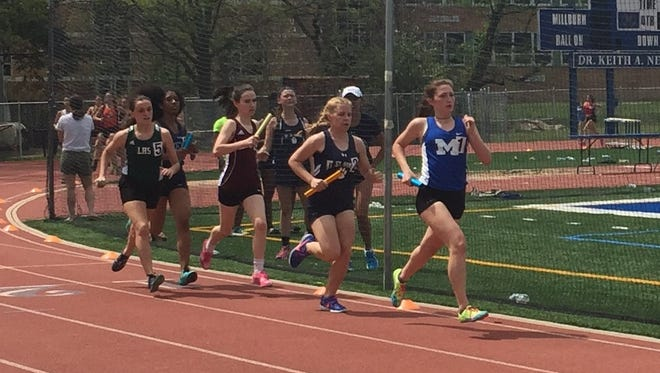 Millburn led the pack early during the girls distance medley relay.
