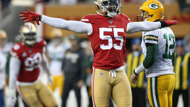 San Francisco 49ers defensive end Dee Ford (55) reacts after making a defensive stop against the Green Bay Packers during the NFC Championship. Ford, who was traded to San Francisco from the Kansas City Chiefs, says he feels healthier after undergoing surgery on his knee to clean up problems.