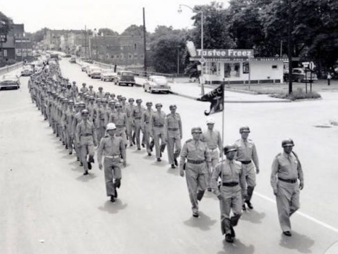 Medical Cadet Corps Camp Doss attendees march through