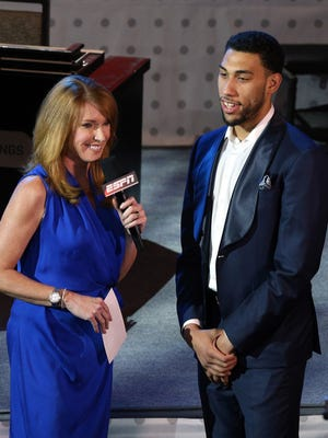 Former MSU guard/forward Denzel Valentine, right, at the NBA draft lottery in May.