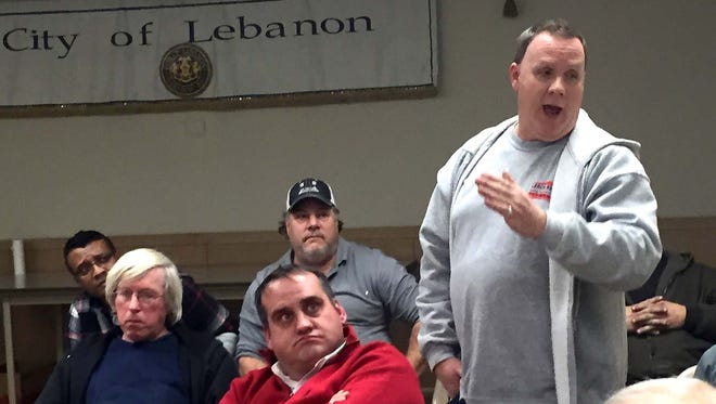 Terry Lerch complains to City Council Thursday about the 'tax' he will have to pay as the owner of several commercial properties in the proposed Business Improvement District in downtown Lebanon.