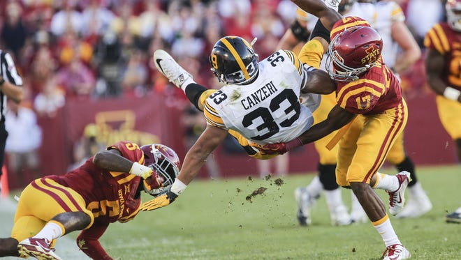 Iowa's Jordan Canzeri (upended in Saturday's 31-17 win at Iowa State) admitted he was sore after a career-high 24 carries. He has 152 rushing yards and 109 receiving through two games this fall.