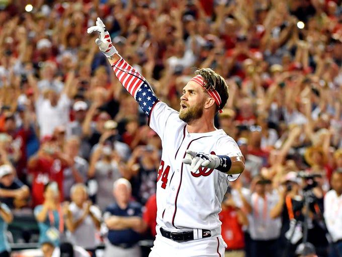 Harper celebrates winning the 2018 Home Run Derby at