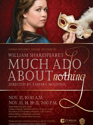 "The poster for Corban University Theatre's ""Much Ado About Nothing"""