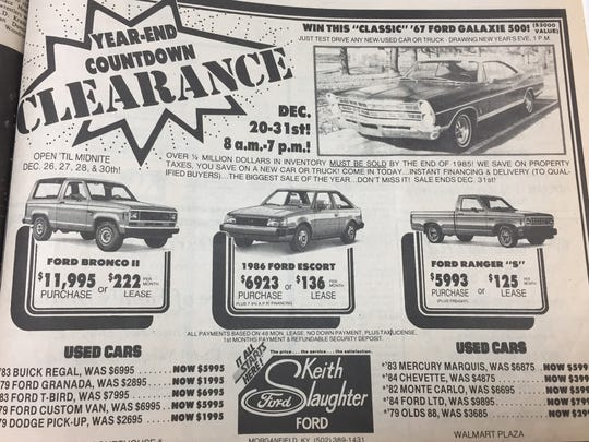 A December 24th, 1985 advertisement for year-end clearance at Keith Slaughter Ford.