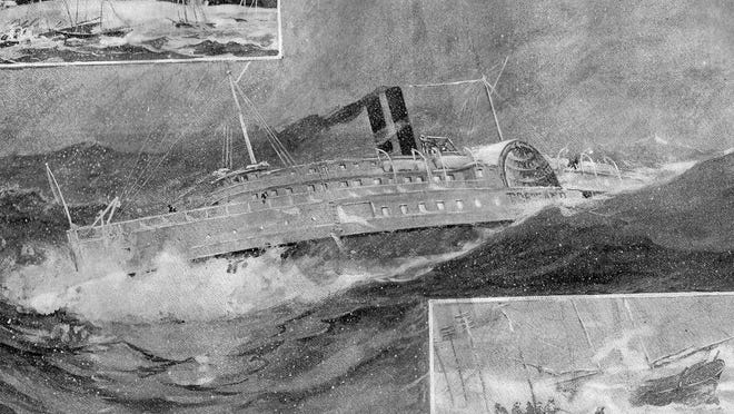 An illustration from Leslie's Weekly in 1898 shows the conditions that the steamer Portland likely encountered before her demise on the evening of Nov. 27, 1898. Unlike the Portland, the steamer Horatio Hall managed the stormy journey from Portland to New York unscathed.