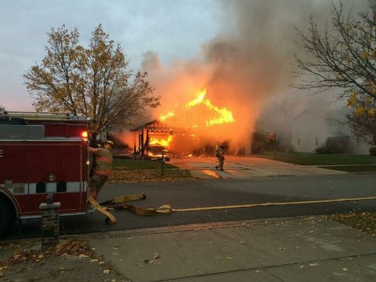 A fire at a duplex on Desplaine Road in De Pere.