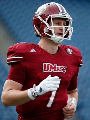 UMass quarterback Blake Frohnapfel plays against Akron in Foxborough, Mass., on Nov. 7, 2015.