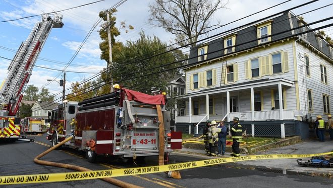 An overview of the scene on North Chestnut Street, where a fire broke out in a residence primarily occupied by SUNY New Paltz students.
