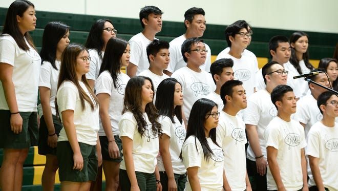 In this Dec. 16, 2016, file photo, Vivace choir members deliver a fundraising performance at John F. Kennedy High School in Tamuning. JFK's annual Sing for a Cause event, set for Dec. 20, will raise money for two island nonprofits.