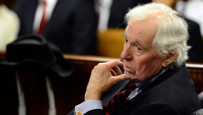 In this July 10, 2015 file photo, John Jay Hooker attends a hearing  in Nashville, Tenn. Hooker, a large figure in Tennessee politics who once worked as special counsel to Robert  Kennedy, spent his last days fighting to make physician-assisted suicide legal in Tennessee. Hooker died Sunday, Jan. 24, 2016, in Nashville. He was 85.