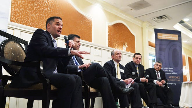 Dutchess County Executive Marc Molinaro, left, speaks at Hudson Valley Pattern for Progress' County Leaders Breakfast at the Poughkeepsie Grand Hotel, during a past event. To his right are Ulster County Executive Mike Hein, Jonathan Drapkin, president and CEO of Hudson Valley Pattern for Progress, Orange County Executive Steven Neuhaus, and Sullivan County Legislative Chairman Luis Alvarez.