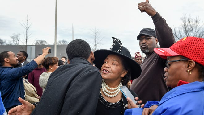 Senator Thelma Harper is greeted at the march to  commemorate Martin Luther King Day, Monday Jan. 16, 2017, in Nashville, Tenn. The march started at Jefferson Street Missionary Baptist Church and ended at Tennessee University.