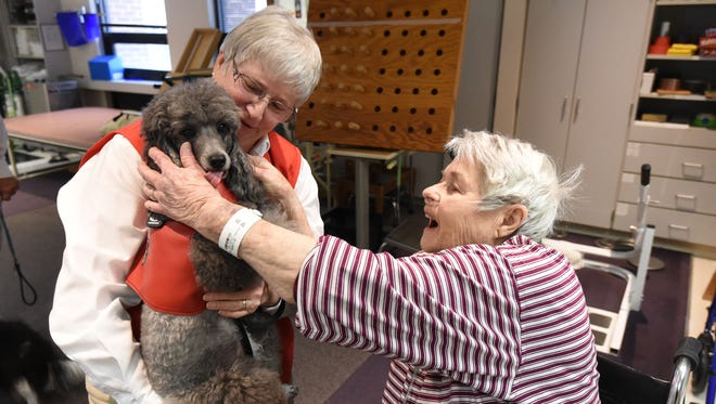 LuWaun Day, a physical rehabilitation patient at Baxter Regional Medical Center, right, gets a lick from therapy dog Katie as therapy dog handler Linda Dudek, left, looks on Thursday in the hospital's acute rehabilitation center.
