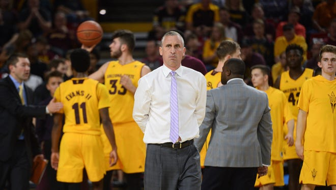 Feb 11, 2017: Arizona State Sun Devils head coach Bobby Hurley reacts against the Stanford Cardinal during the first half at Wells-Fargo Arena.
