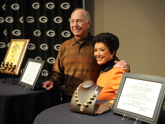 Green Bay Packers legendary quarterback Bart Starr and his wife Cherry appear at the Packers Hall of Fame on Sept. 18, 2010, to announce their donation of three of Starr's World Championship rings, Cherry's necklace and other items.