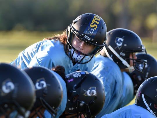 Nevada Storm quarterback Lacey Smith lines up for a play during practice at Mira Loma Park. The Nevada Storm is preparing for their final game of the season on Saturday at Spark High School. Nevada Storm is Northern Nevada's only women's tackle football team.