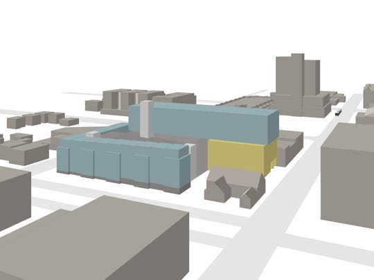 A rough, conceptual rendering of possible mixed-use