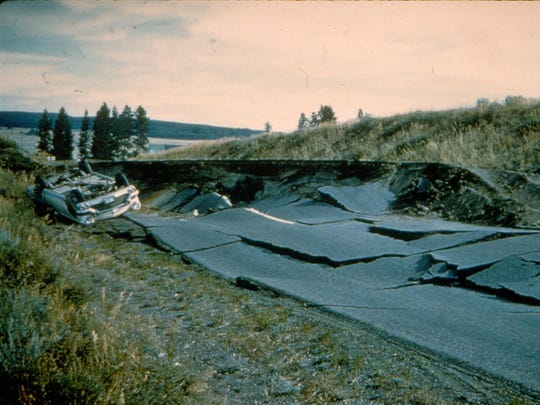 No one was seriously injured when the driver of this car, trying to get his family to safety, drove over a six-foot scarp after the 1959 Yellowstone earthquake.