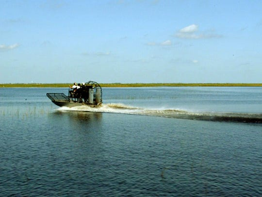 An airboat on Lake Okeechobee in Okeechobee, Florida,