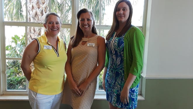 Hibiscus Children's Center Martin County Guild officers, from left, Ellen Houts, vice president; Heidi Monsour, president; and Ashley Braden-Knowles, past-president.