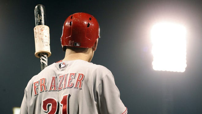 Cincinnati Reds third baseman Todd Frazier (21) in the on-deck circle against the Pittsburgh Pirates during the fifth inning at PNC Park.