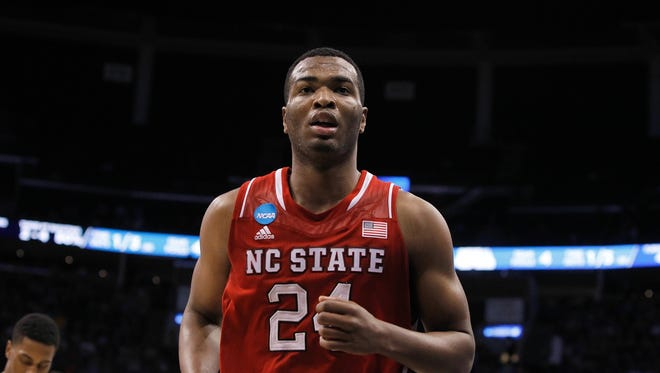 North Carolina State Wolfpack forward T.J. Warren (24) runs on the court against the Saint Louis Billikens during the first half of a men's college basketball game during the second round of the 2014 NCAA Tournament at Amway Center.