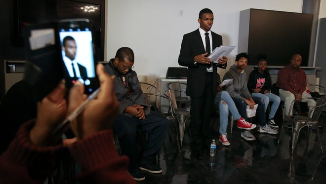 Quintez Brown, 17, spoke during a community town hall meeting at the Glassworks building to discuss the controversy surrounding Manual High School principal Jerry Mayes.  Brown is president of the Black Student Union at Manual which has called for MayesÕ removal.Nov. 16, 2017