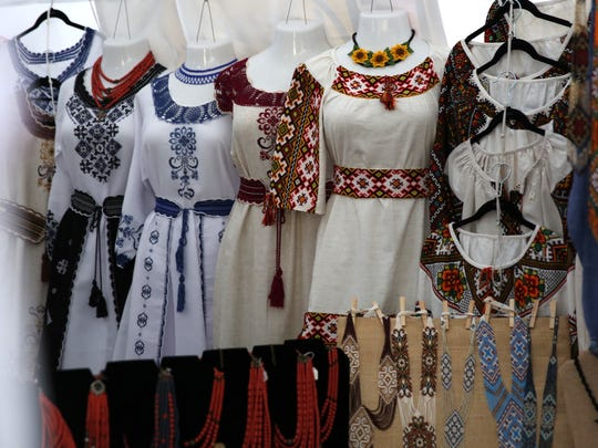 Vendors sell handmade crafted items and clothing and other Ukrainian-inspired goods at the 45th Annual St. Josaphat's Ukrainian Festival.