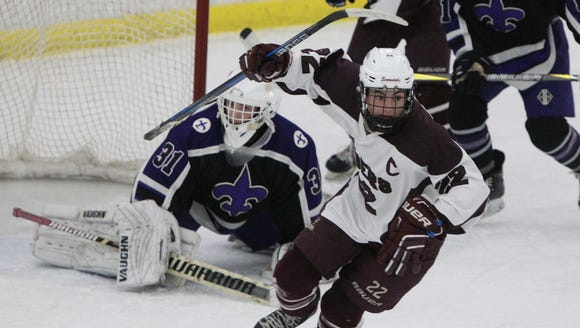 Scarsdale's Ben Schwartz celebrates after scoring past