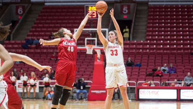 Ball State forward Moriah Monaco takes a three point shot on Jan. 3 in Worthen Arena during a game against Miami. The final score was 86-61.