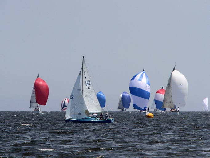 "The 68th Red Grant Regatta in the Raritan Bay off of Perth Amboy.   About 100 boats from New jersey and New York are scheduled to participate. The regatta honors Adolph ""Red"" Grant, a Perth Amboy yacht races and veteran who died in World War II at a young age.   The regatta has become one of the premier regattas in the metropolitan area.     On Saturday July 12,2014 Photo: Mark R. Sullivan/Staff Photographer"