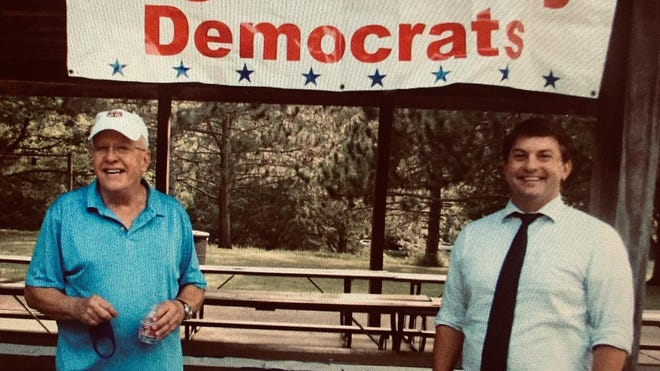 Logan County Democratic Chair Gary Davis (left) and Congressional Candidate George Petrilli (right). Both will be present for the Aug. 20 drive through event.