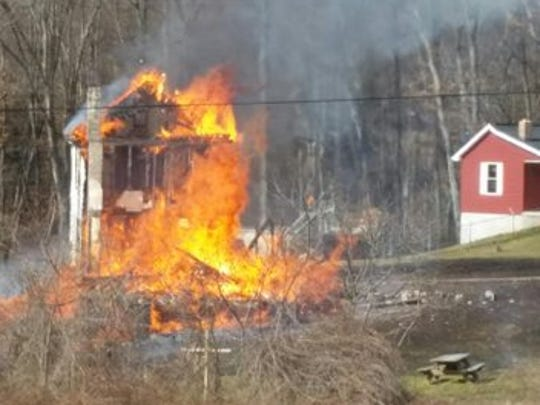 Crews responded to the scene of a fire in Conewago Township on March 8 that burned a home on Jug Road.