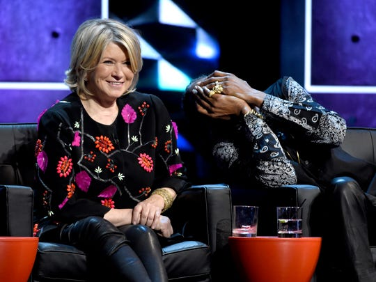 Martha Stewart (L) and Snoop Dogg appear on stage at