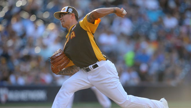Jul 10, 2016: USA pitcher Anthony Banda throws in the 7th inning during the All Star Game futures baseball game at PetCo Park.